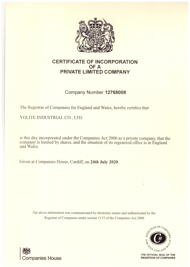CERTIFICATE OF INCORPORATION OF A PRIVATE LIMITED COMPANY YOLITE INDUSTRIAL CO.,LTD.